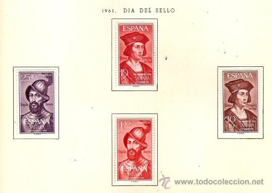 SAHARA ESPAÑOL EDIFIL Nº 197-200 DIA DEL SELLO 1961 FIJASELLOS (Sellos - España - Colonias Españolas y Dependencias - África - Sahara)
