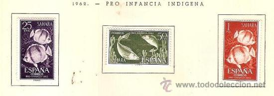 SAHARA ESPAÑOL EDIFIL Nº 209-211 PRO INFANCIA INDIGENA 1962 FIJASELLOS (Sellos - España - Colonias Españolas y Dependencias - África - Sahara)