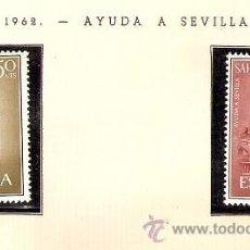 Sellos: SAHARA ESPAÑOL EDIFIL Nº 215-216 AYUDA A SEVILLA 1962 FIJASELLOS . Lote 14308617