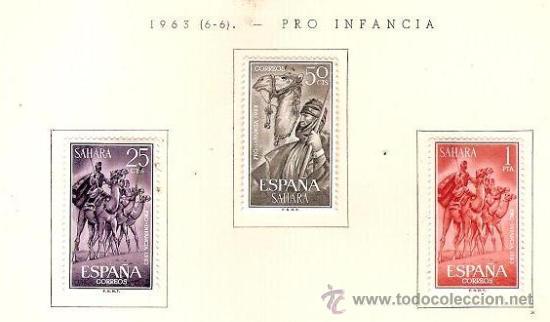 SAHARA ESPAÑOL EDIFIL Nº 217-219 PRO INFANCIA 1963 FIJASELLOS (Sellos - España - Colonias Españolas y Dependencias - África - Sahara)