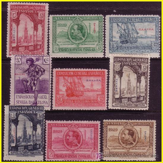 SAHARA 1929 EXPOSICIONES DE SEVILLA Y BARCELONA Nº 25 A 35 SIN 31 * (Sellos - España - Colonias Españolas y Dependencias - África - Sahara)