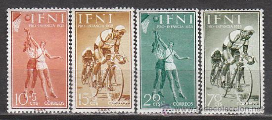IFINI EDIFIL Nº 145/8, PRO INFANCIA (CICLISMO Y BALONCESTO), NUEVO (Sellos - España - Colonias Españolas y Dependencias - África - Otros)