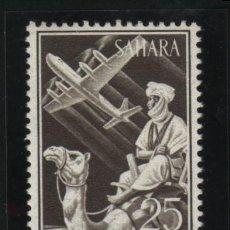 Sellos: S-2135- SAHARA. INDIGENA Y AVION EN VUELO.1961. Lote 21574424