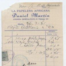 Sellos: MELILLA. FACTURA CON SELLO FISCAL. 1941. Lote 22399418