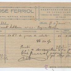 Sellos: FISCALES.MELILLA. FACTURA JOSE FERRIOL. ABASTECEDOR DE CARNES Y SEBOS. 1942. Lote 22399547