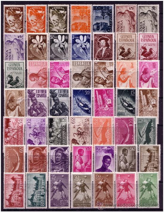 GUINEA 1951 A 1959 COLECCIÓN, 92 SELLOS, EDIFIL Nº 306 A 397 * (Sellos - España - Colonias Españolas y Dependencias - África - Guinea)