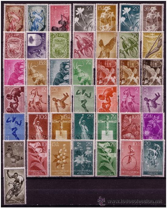 Sellos: GUINEA 1951 a 1959 Colección, 92 sellos, Edifil nº 306 a 397 * - Foto 2 - 23621521