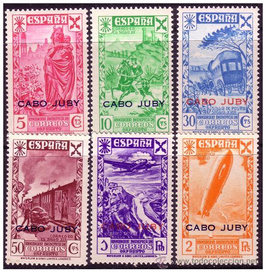 CABO JUBY BENEFICENCIA 1942 Hª DEL CORREO HABILITADOS, EDIFIL Nº 12 A 17 * * (Sellos - España - Colonias Españolas y Dependencias - África - Cabo Juby)