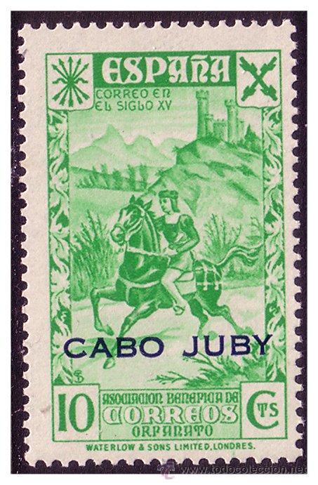 CABO JUBY BENEFICENCIA 1942 Hª DEL CORREO HABILITADOS, EDIFIL Nº 13 * * (Sellos - España - Colonias Españolas y Dependencias - África - Cabo Juby)
