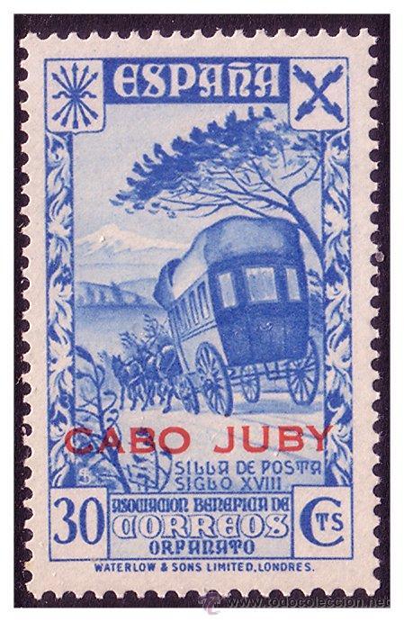 CABO JUBY BENEFICENCIA 1942 Hª DEL CORREO HABILITADOS, EDIFIL Nº 14 * * (Sellos - España - Colonias Españolas y Dependencias - África - Cabo Juby)