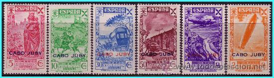 CABO JUBY BENEFICENCIA 1943 Hª DEL CORREO, HABILITADOS, EDIFIL Nº 12 A 17 * (Sellos - España - Colonias Españolas y Dependencias - África - Cabo Juby)