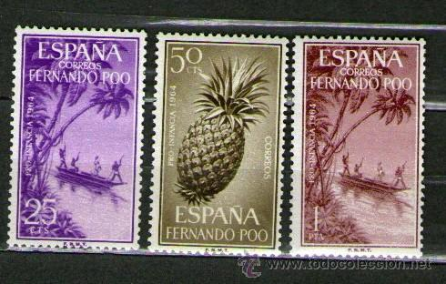 LOTE DE 3 SELLOS NUEVOS DE LA COLONIA DE FERNANDO POO - PRO INFANCIA - AÑO 1964 (Sellos - España - Colonias Españolas y Dependencias - África - Fernando Poo)