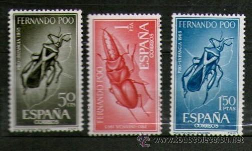 COLONIA DE FERNANDO POO: LOTE DE 3 SELLOS NUEVOS. PRO INFANCIA - AÑO 1965. (Sellos - España - Colonias Españolas y Dependencias - África - Fernando Poo)