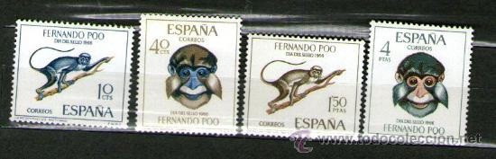 LOTE DE 4 SELLOS NUEVOS DE LA COLONIA DE FERNANDO POO - DÍA DEL SELLO - AÑO 1966. (Sellos - España - Colonias Españolas y Dependencias - África - Fernando Poo)