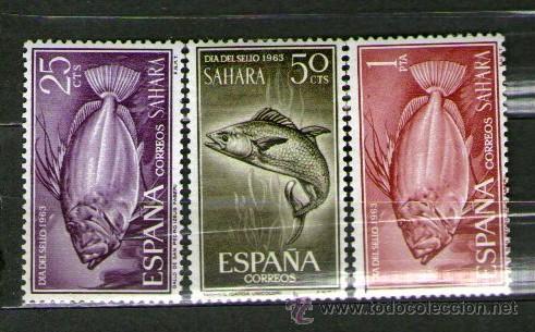 SAHARA ESPAÑOL: LOTE DE 3 SELLOS NUEVOS. DÍA DEL SELLO - AÑO 1963. (Sellos - España - Colonias Españolas y Dependencias - África - Sahara)