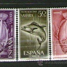 Sellos: SAHARA ESPAÑOL: LOTE DE 3 SELLOS NUEVOS. DÍA DEL SELLO - AÑO 1963.. Lote 25924334