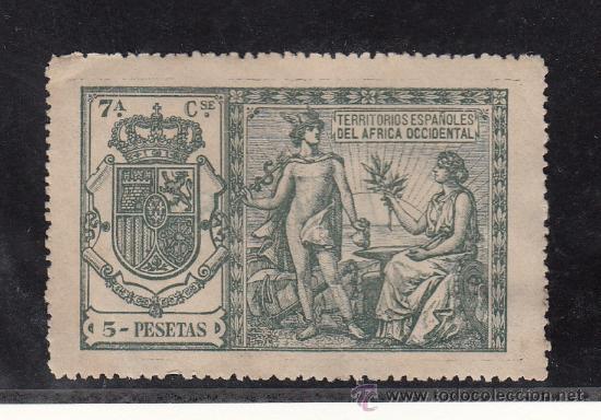 ,AFRICA OCCIDENTAL CATALOGO GALVEZ 1923 POLIZA 90 SIN GOMA, (Sellos - España - Colonias Españolas y Dependencias - África - África Occidental)