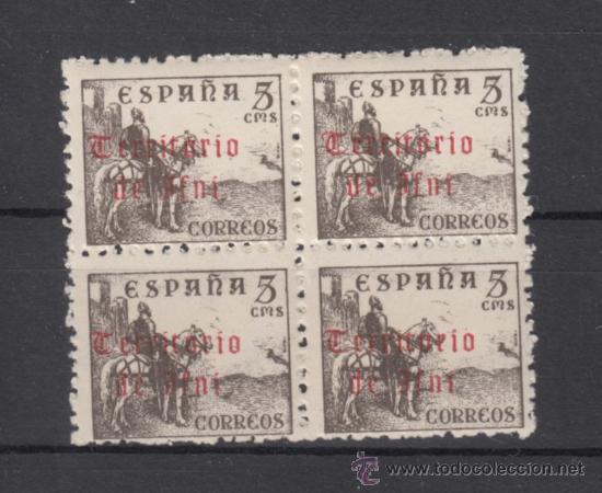 ,IFNI 38 EN B4 SIN CHARNELA, SOBRECARGADO, (Sellos - España - Colonias Españolas y Dependencias - África - Ifni)