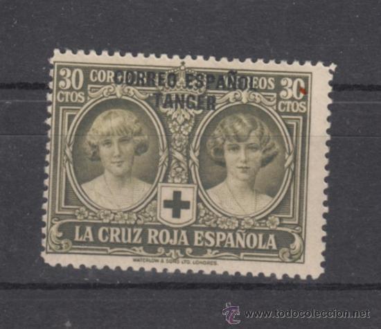 ,TANGER 30 SIN CHARNELA, CRUZ ROJA, SOBRECARGADO, (Sellos - España - Colonias Españolas y Dependencias - África - Tanger)