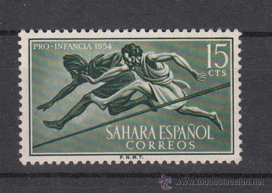 ,SAHARA 114 CON CHARNELA, DEPORTE, (Sellos - España - Colonias Españolas y Dependencias - África - Sahara)