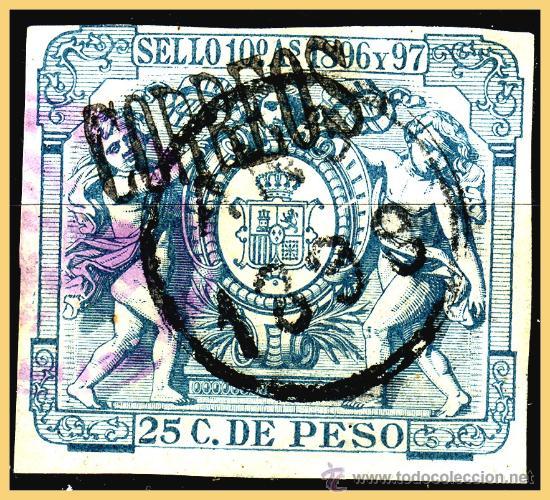 FERNANDO POO 1898 PÓLIZAS HABILITADOS, EDIFIL Nº 46A (O) MARQUILLADO (Sellos - España - Colonias Españolas y Dependencias - África - Fernando Poo)