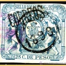 Sellos: FERNANDO POO 1898 PÓLIZAS HABILITADOS, EDIFIL Nº 46A (O) MARQUILLADO. Lote 28630141
