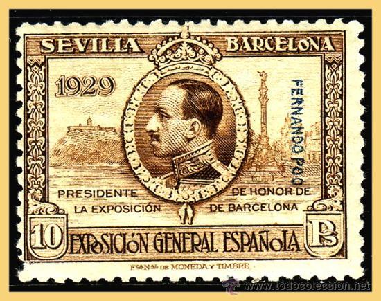 FERNANDO POO 1929 PRO EXPOSICIONES DE SEVILLA Y BARNA, EDIFIL Nº 178 * * (Sellos - España - Colonias Españolas y Dependencias - África - Fernando Poo)
