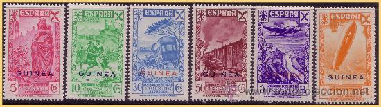 GUINEA BENEFICENCIA 1943 Hª DEL CORREO HABILITADOS, EDIFIL Nº 12 A 17 * * (Sellos - España - Colonias Españolas y Dependencias - África - Guinea)