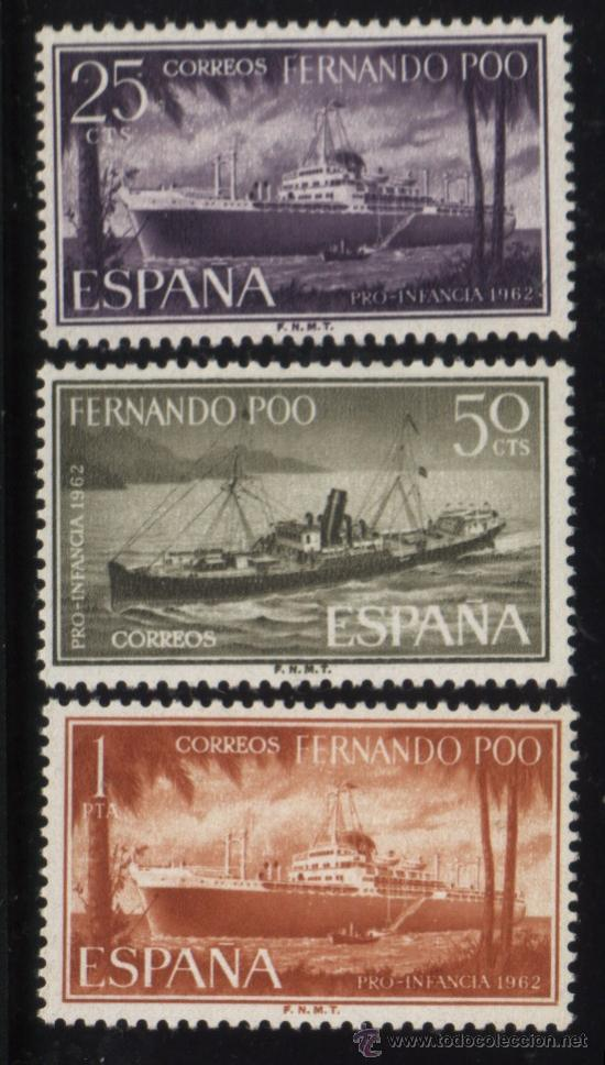 S-4555- FERNANDO POO. PRO INFANCIA 1962. BARCOS (Sellos - España - Colonias Españolas y Dependencias - África - Fernando Poo)
