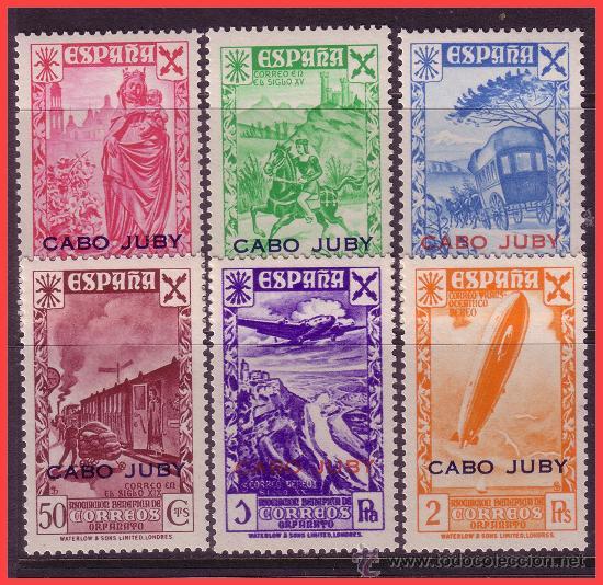 CABO JUBY BENEFICENCIA 1943 Hª DEL CORREO, HABILITADOS, EDIFIL Nº 12 A 17 * * (Sellos - España - Colonias Españolas y Dependencias - África - Cabo Juby)