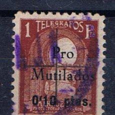 Sellos: MARRUECOS PROTECTORADO ESPANOL USADO TELEGRAFOS SOBRECARGA 10 CTS PRO MUTILADOS. Lote 32080983