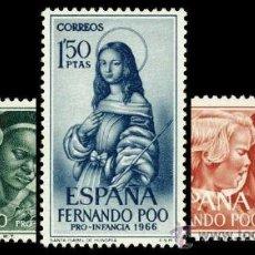 Sellos: FERNANDO POO 248/50 ** PRO INFANCIA 1966 . Lote 32580351