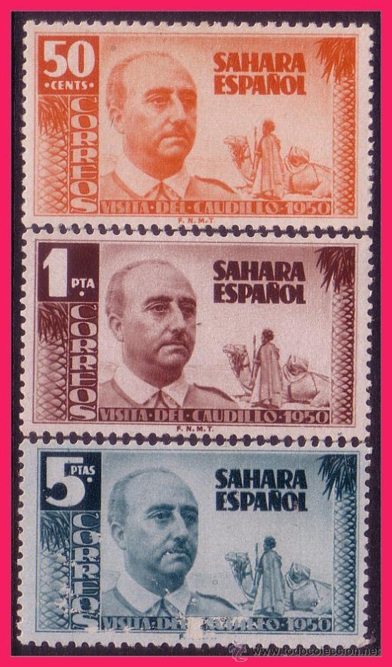 SAHARA 1951 VISITA DEL GENERAL FRANCO, EDIFIL Nº 88 A 90 * (Sellos - España - Colonias Españolas y Dependencias - África - Sahara)