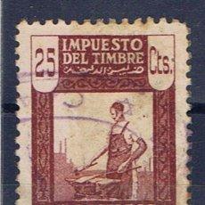 Sellos: MARRUECOS OCUPACION ESPAÑOLA 25 CTS IMPUESTO DEL TIMBRE PROTECTORADO NUMERADO . Lote 33980751