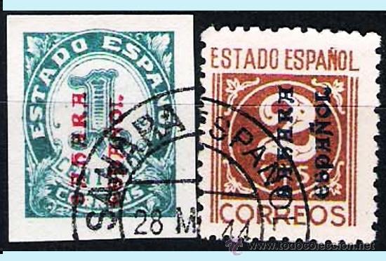 CIFRAS 1 Y 2 CTS. VARIEDADES DE SOBRECARGA VERTICAL, DE ABAJO A ARRIBA. USADOS. (Sellos - España - Colonias Españolas y Dependencias - África - Sahara)
