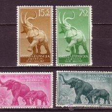 Sellos: GUINEA 369/72* - AÑO 1957 - DÍA DEL SELLO - FAUNA - ELEFANTES. Lote 34648221