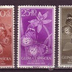 Sellos: GUINEA 388/90* - AÑO 1958 - DÍA DEL SELLO - FAUNA - INSECTOS - MARIPOSAS. Lote 34649260