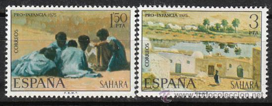 SAHARA EDIFIL Nº 320/1, PRO INFANCIA 1975, PINTURAS, NUEVO (Sellos - España - Colonias Españolas y Dependencias - África - Sahara)