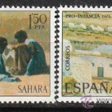 Sellos: SAHARA EDIFIL Nº 320/1, PRO INFANCIA 1975, PINTURAS, NUEVO. Lote 35766304