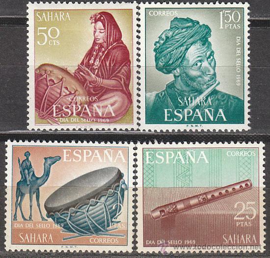 SAHARA EDIFIL Nº 275/8, MUSICOS, DIA DEL SELLO 1969, NUEVOS CON LIGERA SEÑAL DE CHARNELA (Sellos - España - Colonias Españolas y Dependencias - África - Sahara)