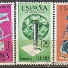 Sellos: SAHARA EDIFIL Nº 268/70, CARTERO Y ALEGORIAS DEL CORREO DIA SELLO 1968, NUEVOS CON SEÑAL DE CHARNELA. Lote 35783292