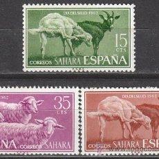 Sellos: SAHARA EDIFIL Nº 212/4, CABRA Y CARNERO, DIA DEL SELLO 1962, NUEVOS CON SEÑAL DE CHARNELA. Lote 35860945