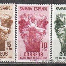 Sellos: SAHARA EDIFIL Nº 98/100, AVESTRUZ (DIA DEL SELLO 1952), NUEVO CON SEÑAL DE CHARNELA. Lote 118782483