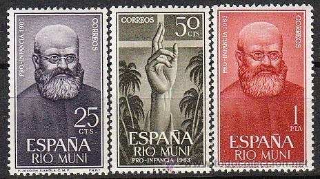 RIO MUNI EDIFIL Nº 37/9, MISIONES (PADRE JOAQUIN JUANOLA) 1963, NUEVOS CON SEÑAL DE CHARNELA (Sellos - España - Colonias Españolas y Dependencias - África - Río Muni)