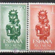 Sellos: RIO MUNI EDIFIL Nº 35/6, AYUDA A SEVILLA 1963, NUEVOS CON SEÑAL DE CHARNELA. Lote 35935464