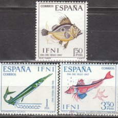Sellos: IFNI EDIFIL 230/2, DIA DEL SELLO 1967, PECES, NUEVOS SIN SEÑAL DE CHARNELA. Lote 158031704