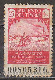 MARRUECOS, IMPUESTO DEL TIMBRE, PROTECTORADO ESPAÑOL, NUEVO SIN GOMA (Sellos - España - Colonias Españolas y Dependencias - África - Marruecos)