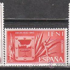 Sellos: IFNI EDIFIL 215/7, AGUILA HELIACA Y ESCUDO DE IFNI (DIA DEL SELLO 1965) NUEVOS CON SEÑAL DE CHARNELA. Lote 36259653