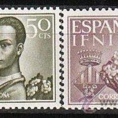Sellos: IFNI EDIFIL 198/9, AYUDA A BARCELONA, NUEVOS CON SEÑAL DE CHARNELA. Lote 36260796