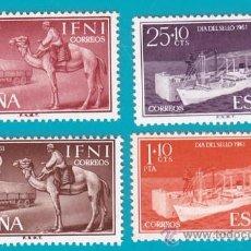 Sellos: IFNI 1961, EDIFIL 183 AL 186, DIA DEL SELLO, NUEVO SIN FIJASELLOS, SERIE COMPLETA. Lote 36281903